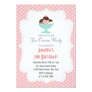 Ice Cream Birthday Party Invitation (Pink)