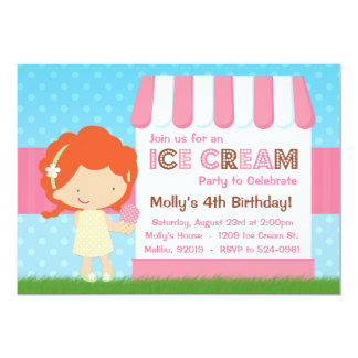 Ice Cream Birthday Party Red Hair Card