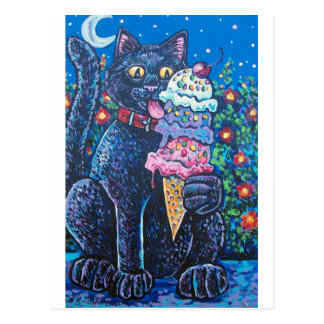 ice cream black cat postcard
