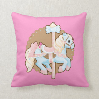 Ice Cream Carousel Throw Pillow