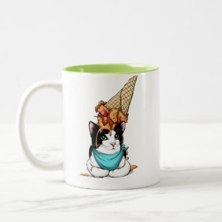 Ice cream cat Two-Tone coffee mug