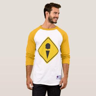 Ice Cream Caution Sign 3/4 Sleeve Raglan T-Shirt