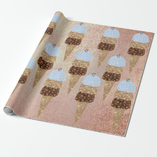 Ice Cream Chocolate Blue Metallic Copper Gold Pink Wrapping Paper