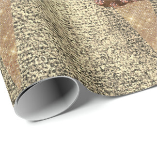 Ice Cream Chocolate Blue Metallic Copper Sepia Wrapping Paper