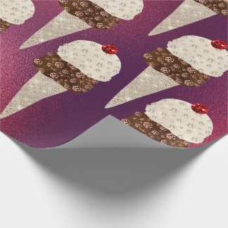 Ice Cream Chocolate Glass Rose Burgundy Ruby Ivory Wrapping Paper