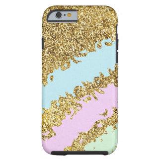 Ice Cream Colors Splatter on Gold Glitter Effect Tough iPhone 6 Case