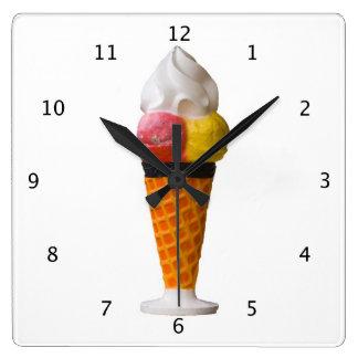 Ice Cream Cone gigantic fun Square Wall Clock