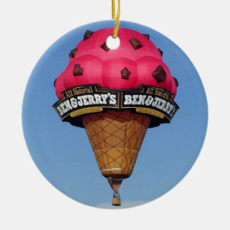 Ice Cream Cone Hot Air Balloon Round Ceramic Ornament