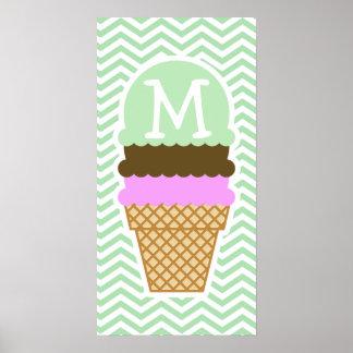 Ice Cream Cone on Celadon Chevron Poster