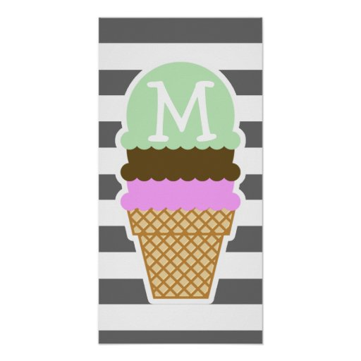 Ice Cream Cone on Dim Gray Horizontal Stripes Poster