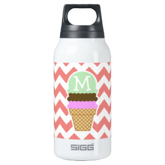 Ice Cream Cone on Light Coral Chevron Stripes Insulated Water Bottle