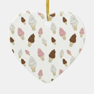 Ice Cream Cone Pattern Ceramic Heart Ornament