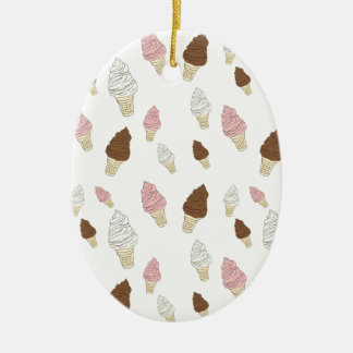 Ice Cream Cone Pattern Ceramic Oval Ornament