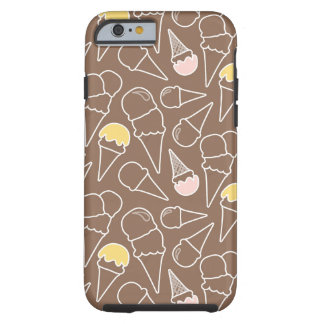 Ice Cream Cone Pattern on Brown Tough iPhone 6 Case