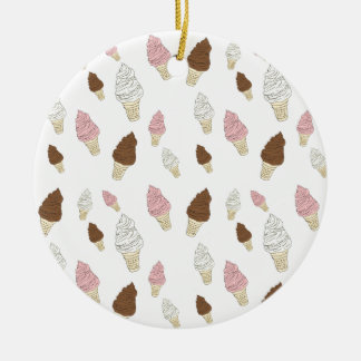 Ice Cream Cone Pattern Round Ceramic Ornament