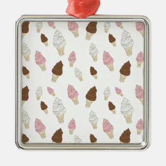 Ice Cream Cone Pattern Silver-Colored Square Ornament