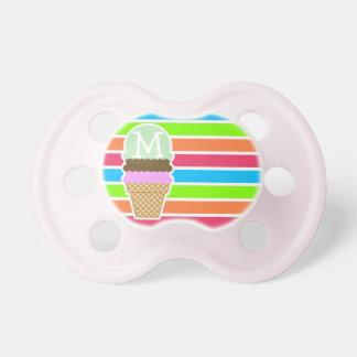 Ice Cream Cone; Retro Neon Rainbow Pacifier