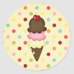 ice cream cone round stickers