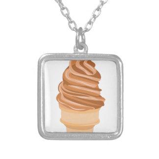 Ice Cream Cone Silver Plated Necklace
