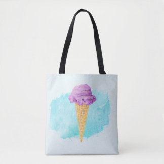 Ice Cream Cone With A Blue Paint Splatter Tote Bag