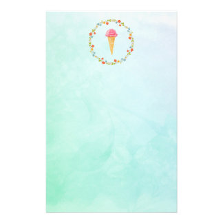 Ice Cream Cone With a Floral Wreath Stationery