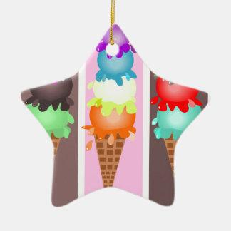 ice cream cones ceramic star ornament