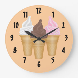 Ice Cream Cones Large Clock