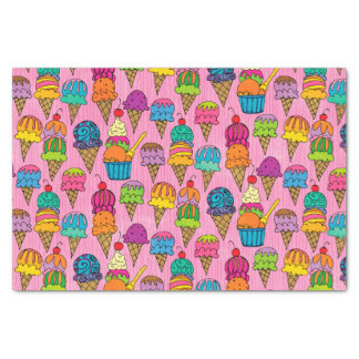 Ice Cream Cones on Pink Tissue Paper