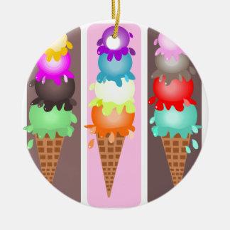 ice cream cones round ceramic ornament