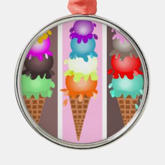 ice cream cones Silver-Colored round ornament
