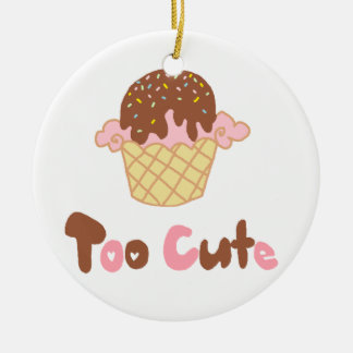 Ice Cream Cupcake Round Ceramic Ornament