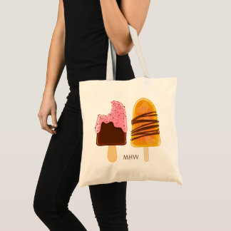 Ice Cream custom monogram tote bags