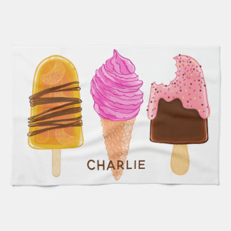 Ice Cream custom name & color kitchen towel