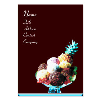 ICE CREAM  - DESERT SHOP,blue red brown Large Business Card