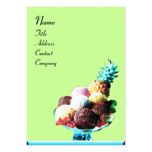 ICE CREAM  - DESERT SHOP,blue red green black Business Card Template