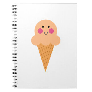 Ice cream design on white notebooks