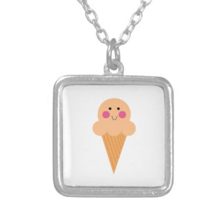 Ice cream design on white silver plated necklace