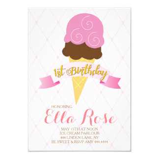 Ice Cream First Birthday Party Card