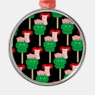 Ice Cream Frankenstein Lick Silver-Colored Round Ornament