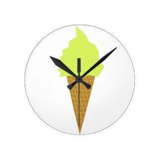 ice cream fun style yellow round clock