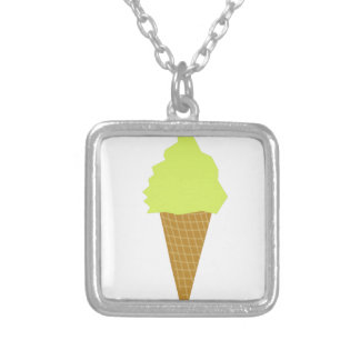 ice cream fun style yellow silver plated necklace