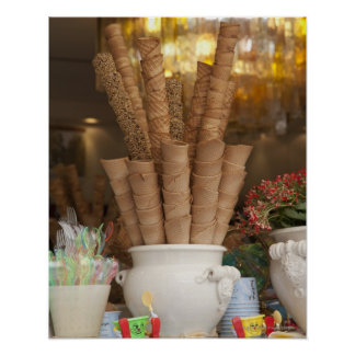 Ice cream gelato cones in shop window display poster