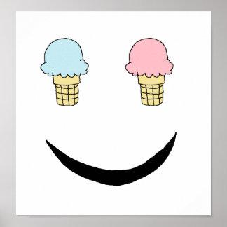 Ice Cream Happy Face Print