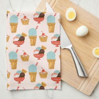 Ice Cream Illustration Pattern Kitchen Towel