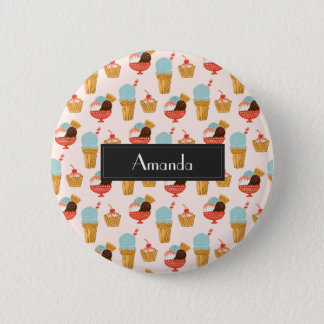 Ice Cream Illustration Pattern with Name 2 Inch Round Button