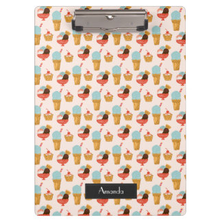 Ice Cream Illustration Pattern with Name Clipboard