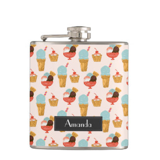 Ice Cream Illustration Pattern with Name Hip Flask