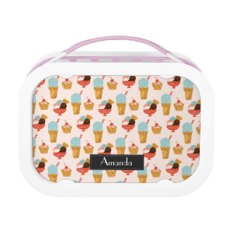 Ice Cream Illustration Pattern with Name Lunch Box