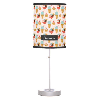 Ice Cream Illustration Pattern with Name Table Lamp