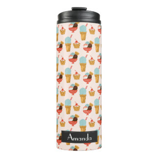 Ice Cream Illustration Patternn with Name Thermal Tumbler